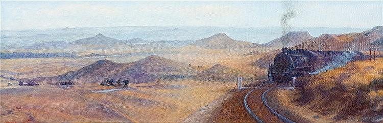 Maud Frances Eyston Sumner - Steam Train in the Karoo