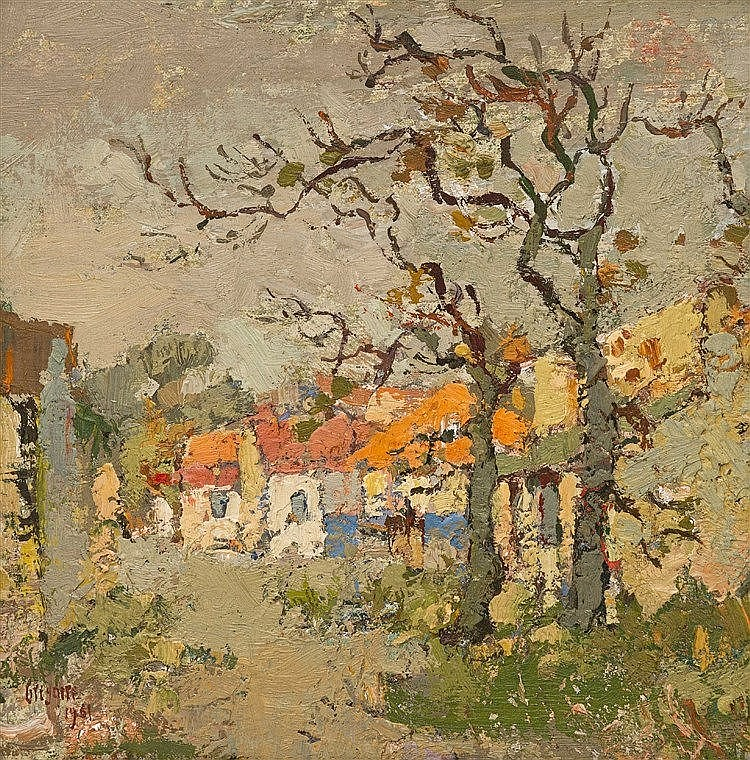 Gregoire Johannes Boonzaier - Straat met twee bome en oranje dakke. Kenilworth, Kaap