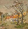 Gregoire Johannes Boonzaier - Straat met twee bome en oranje dakke. Kenilworth, Kaap, Jan Grégoire, Click for value
