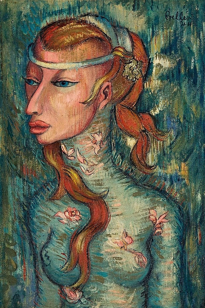 Alexis Preller - Woman with Red Hair or Ophelia