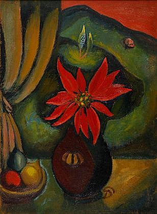 Pranas Domsaitis Still Life with Poinsettias and a