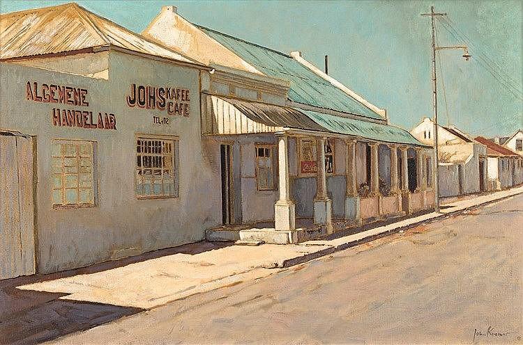 John Barnett Kramer  Johs Kafee, Middelburg, Eastern Cape  signed and dated 96  oil on c