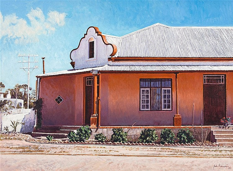 John Barnett Kramer  House with Cape Gable  signed and dated 75  oil on canvas  55 b