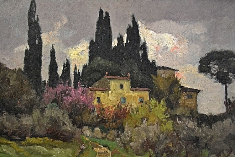Franz Xaver Frankl A House Amongst Cypress Trees