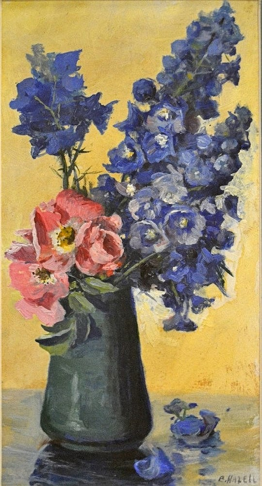 Amy Beatrice Hazell Still Life with Delphiniums