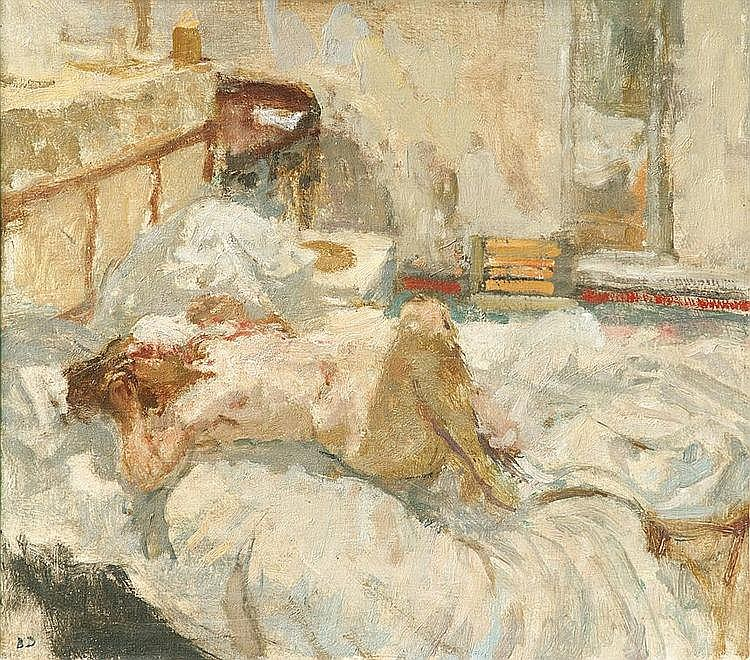 Bernard DUNSTAN British 1920- Nude Lying on Bed
