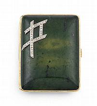 Tiffany diamond and gold-mounted spinach green jade cigarette case