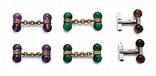 Pair of amethyst and silver-gilt cufflinks, Links, London, 1995