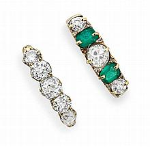 Emerald and diamond five stone ring
