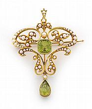 Edwardian seed pearl and peridot pendant/brooch