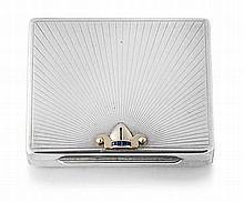 Tiffany & Co 14ct gold and sapphire-mounted sterling silver cigarette case, New York, early 20th century