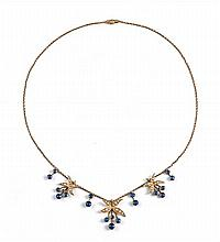 Edwardian sapphire and seed pearl necklace