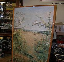 An oil of birds and flowers with working farmer