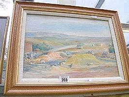 An oil of hens in rolling landscape signed Jeanne Courtauld, 24 x 34cms and an oil of seascape by Elizabeth Kitson.