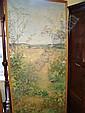 An oil on canvas of rural landscape with flowers,