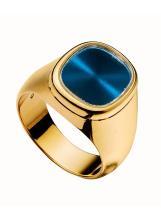 Herrenring, Patek Philippe. Gelbgold 18 K. Abgerundete, rechteckige Schauseite mit blauem Saphirglas, an breiter, sich verjüngender Spange. Passend zum Modell Ellipse.   Gew. 22,1 g. RG 60.