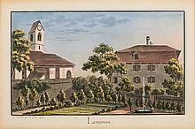 Weibel, Jakob Samuel (1771-1846). «Lengnau». S. Weibel fc. 17. Fev. 1824. Kol. Aquatinta. Echtgoldleiste.   9,8:16,5 cm.