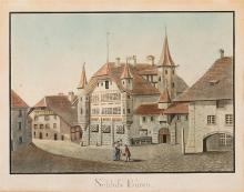 Hassler, Bernard Albrecht (1768-1833). «Schloss Büren». Kol. Aquatinta. Echtgoldleiste.   13:18 cm.