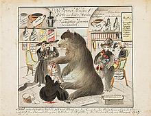 Anonym, um 1847, Karikatur das Jesuitenverbot in der Schweiz betreffend. Beschriftung oben: «Des Berner Mutzes erste Probe im schön Strehlen». Beschriftung unten: «Mutz! Nimm dich wohl in Acht du...