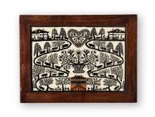 Falt-Scherenschnitt/Collage, Isaac Saugy, 1911. (1892-1990). Alpaufzug, im Zentrum braunes Haus, Blumenbouquet und Herz. In Biedermeier-Flachrahmen. O.r. sig.   29:41 bzw. 38:50,5 cm.