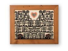 Falt-Scherenschnitt/Collage, Isaac Saugy, 1970. (1892-1990). Alpaufzug mit Pferdewagen, Häusern und Herzmotiv. In Holzrahmen. O.r. sig. (verblasst).   30,5:40 bzw. 40:50 cm.