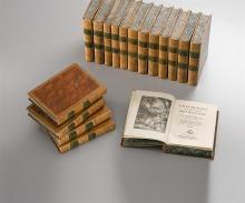 Rousseau Jean Jacques, Collection complète des Œuvres. 17 Bände 4°. Genève, Soc. Typographique  u. Barde et Manget (Bde 16 u. 17) 1782-1789. 4°. Mit zahlr. Kupfertafeln nach Moreau und...