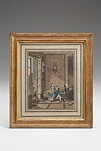 Freudenberger, Sigmund (1745-1801). Die Musikstunde. Junge Frau mit Mandoline auf einem Kanapee, daneben der Lehrer gestikulierend, mit Stock und am Boden liegendem Windhund. Links im Raum am...