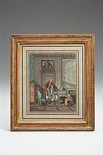 Freudenberger, Sigmund (1745-1801). Der Musikvortrag. Junge Frau am Spinett und hinter ihr stehender Herr die Seiten wendend. Rechts ein kleines Mädchen mit dem Hündchen beschäftigt. Der Raum im...