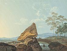 Büchel, Johann Ulrich (1753-1792). Morgenstimmung und Abendstimmung. Schweizer Seelandschaft mit zwei Fischerbooten, am Ufer Hirte mit Herde./Schweizer Landschaft mit Findling. Zwei Gouachen....