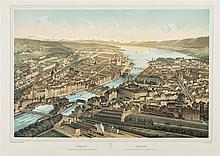 Fichot, Charles (1817-1903) (Verlag). «Zürich. Vue prise au dessus de la Gare de chemin de fer». Dessiné d'apr. nat. par Ch. Fichot. Lith par Fichot et Muller.1850. Farblithographie....
