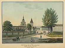 Weibel, Jakob Samuel (1771-1846). «Der Zwingerhof in Bern, wie es war». angefangen zu demolieren April 1830. Gemahlt v. S. Weibel. Kol. Aquatinta. Links in der Platte monogrammiert und datiert...