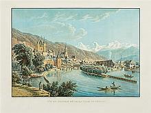 Lory, Gabriel Ludwig, genannt Lory père (1763-1840). «Vue de la Ville de Berne»./«Vue du Chateau et de la Ville de Thune». Dessiné par G. Lory père. Gravé par F. Hurlimann. Zwei kol....