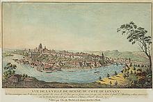 Mechel, Christian von (1737-1817). «Vue de la Ville de Berne du Côté du Levant» où l'on remarque sur le devant, une partie du cours de l'Aar qui en forme une presqu'isle, et dans le fond,...