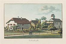 Weibel, Jakob Samuel (1771-1846). «Ursenbach». S. W. 20. Sent. 1825. Kol. Aquatinta. Echtgoldleiste.   9,8:16,3 cm.