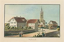 Weibel, Jakob Samuel (1771-1846). «Madiswil». J. S. Weibel Jc. 3. Agust 1825. Kol. Aquatinta. Echtgoldleiste.   9,8:16,3 cm.