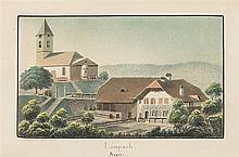 Weibel, Jakob Samuel (1771-1846). «Limpach». S. Weibel fc. 23. Sept. 1824. Kol. Aquatinta. Echtgoldleiste.   9,8:16,5 cm.