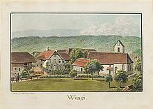 Weibel, Jakob Samuel (1771-1846). «Wengi». J. Weibel fc. 24. Sept. 1823. Kol. Aquatinta. Echtgoldleiste.   10:16,5 cm.