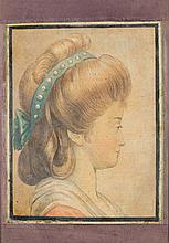 Lavater, Johann Kaspar (Schweiz, 1741-1801). Sieben Aquarelle dem Physiognomischen Kabinett. «Schalksspott nach Wernern»./«Frauenzimmer. Profil», datiert: «21.1.1795»./«Aberlisches...
