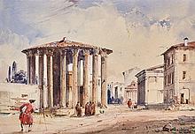 Joyant, Jules-Romain (Frankreich, 1803-1854). Ansicht des Tempels von Vesta in Rom. Aquarell auf Papier. Unten rechts signiert. Lichtmass: 13:19 cm.