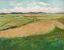 Minarik, Jan B. (Tschechoslowakei, 1862-1937). Sommerlandschaft mit Weizenfeld - im Hintergrund ein Dorf, 1910. Öl auf Leinwand. Unten rechts signiert und datiert. 70:90 cm.