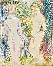 Camenisch, Paul (Schweiz, 1893-1970). Liebespaar, 1926. Farbige Kreide auf Papier. Unten rechts signiert und datiert: «Camenisch 26». unten links dediziert, signiert und datiert, 29. XII. 47». ...