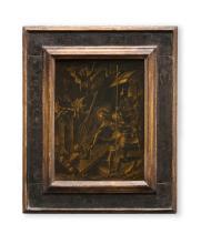 Urs Graf d.Ä. (Solothurn, um 1485 - Solothurn, vor 13.10.1528) alte Zuweisung. Christus in der Vorhölle, um 1520. In Goldmalerei auf festem Papier über Nussholz. 40:30 cm.