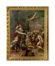 Hans von Aachen (Köln, 1552-Prag, 3.3.1615), wohl Studio, um 1600. Minerva führt die Malerei zu den Sieben Freien Künsten. Öl auf Leinwand. In vergoldetem Rahmen des 17. Jh.. 142:105 cm.