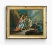 Hinterglasbild, Innerschweiz, 18. Jh. Der Verkauf Joseph durch seine Brüder. In hügeliger Landschaft mit Bäumen stehen die verhandelnden Männer mit dem weinenden Joseph. Im Vordergrund Figur am...