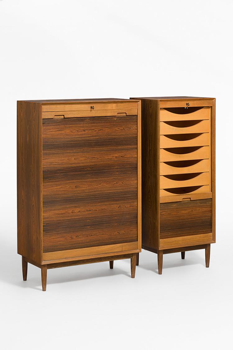 zwei rollschubladen korpusse schweiz oder d nemark um 1960. Black Bedroom Furniture Sets. Home Design Ideas