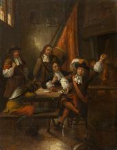 Ravesteyn, Hubert van (Holland, 1638–1683/1691) (zugeschrieben). Soldatenstube mit Kartenspielern. Öl auf Holz. 74:58 cm.