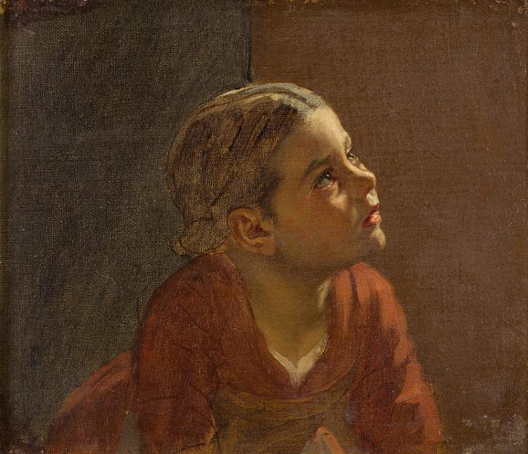 Weckesser, August (Schweiz, 1821–1899). Bildnis eines Mädchens in rotem Kleid. Ölstudie auf Leinwand, auf Malkarton aufgezogen. Verso Etikett: «Original-Skizze/aus dem in Winterthur im März...