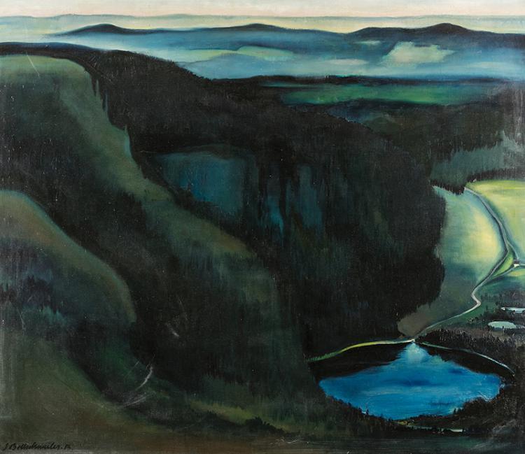 Bollschweiler, Jakob Friedrich (Deutschland/Schweiz 1888–1938). Abend am Feldsee, 1913. Öl auf Leinwand. Unten links signiert und datiert.   115:134 cm.