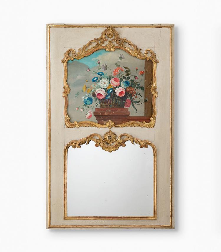 Trumeau spiegel louis xv um 1750 holz weiss gefasst pro for Spiegel mit rahmen