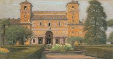Robert, Philippe (Jean Philippe Edouard) (Schweiz, 1881?1930). Herrenhaus, 1919. Pastell auf Papier. Unten rechts signiert und datiert.   17:32 cm.
